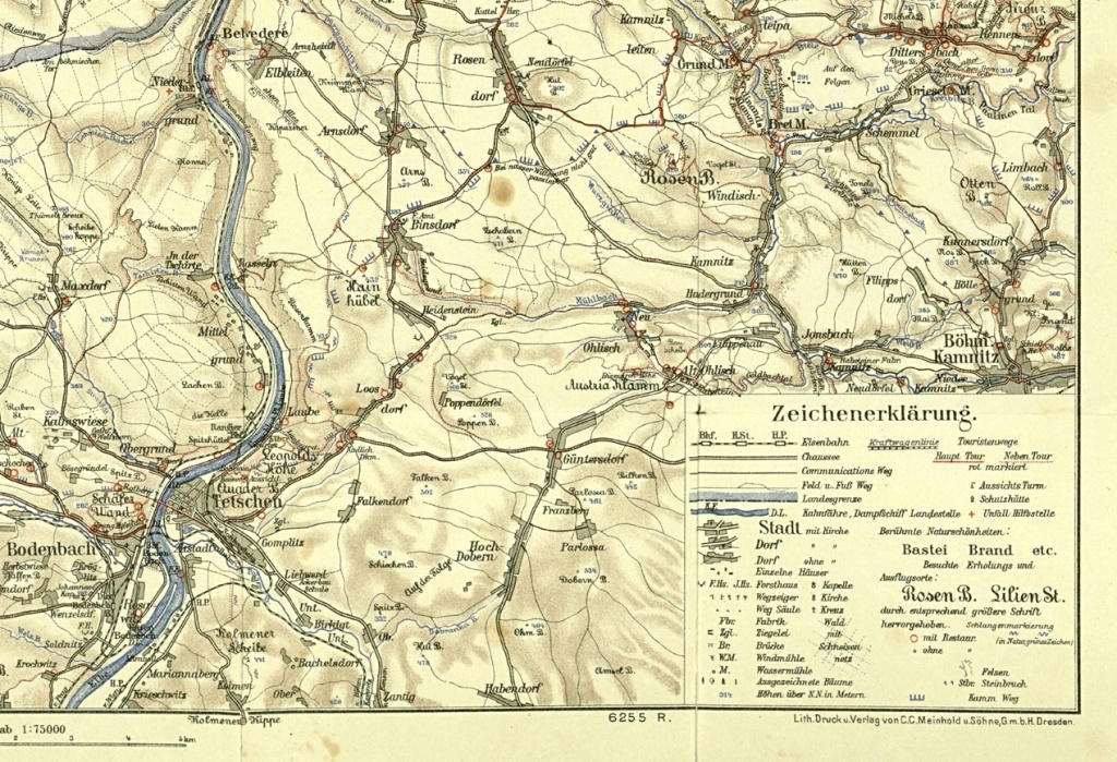 Detail Modré hřebenovky u Děčína na mapě z roku 1940