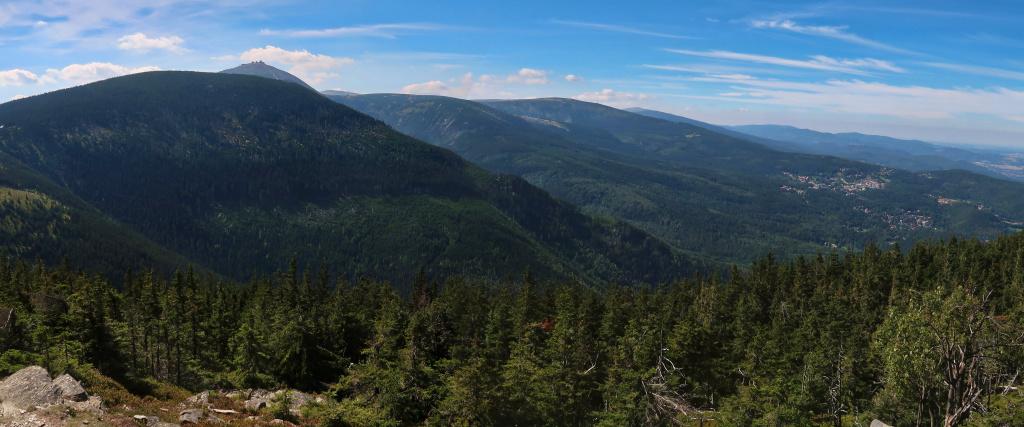 Krkonoše Lesní hřeben výhled